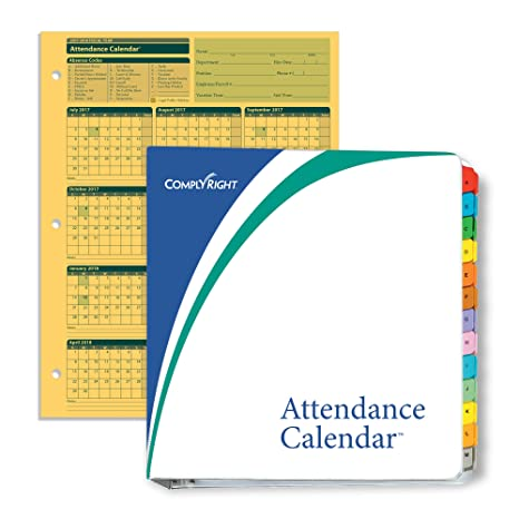 complyright fiscal year attendance calendar kit 2017 2018 50 pack