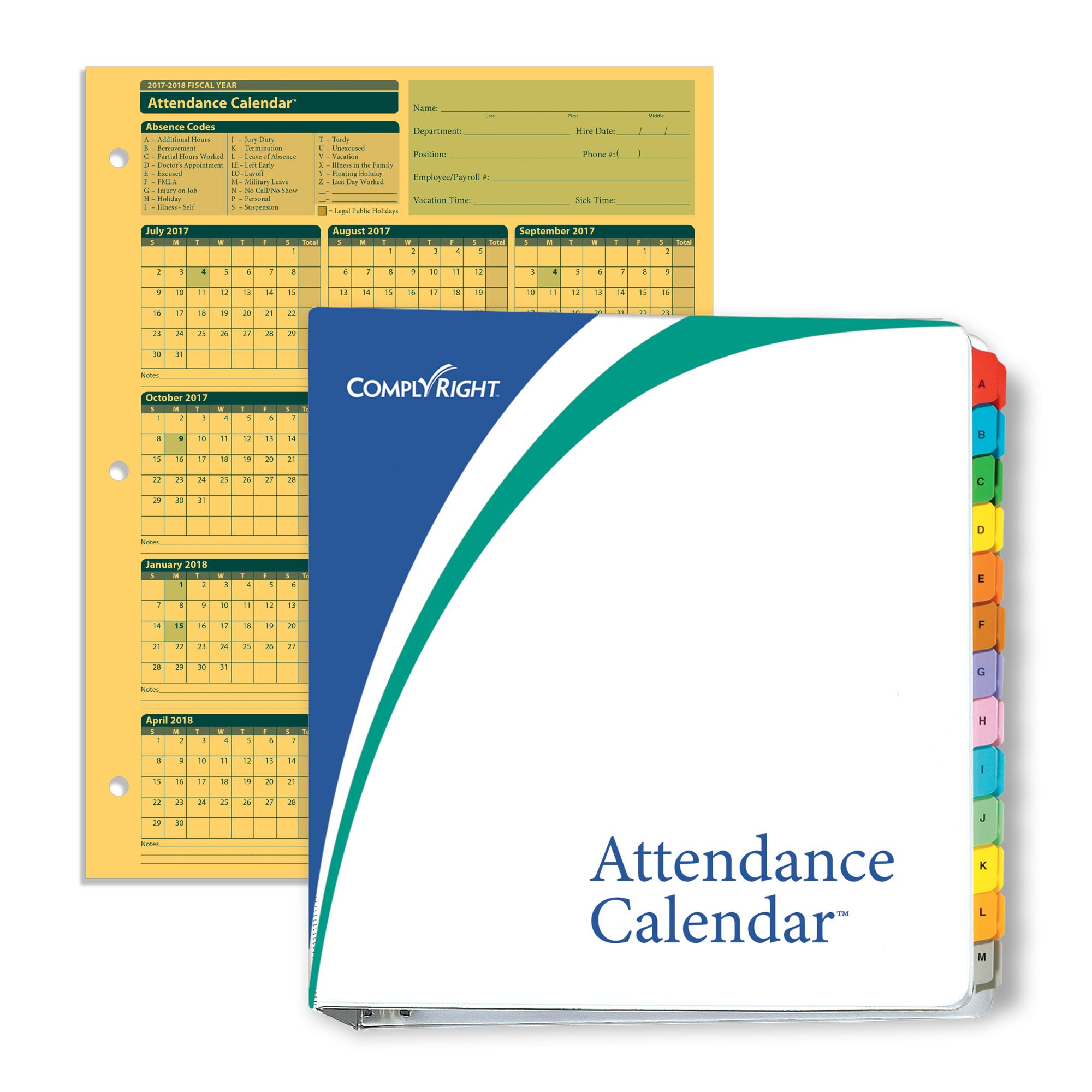 ComplyRight Fiscal Year Attendance Calendar Kit, 2017-2018, 50 Pack