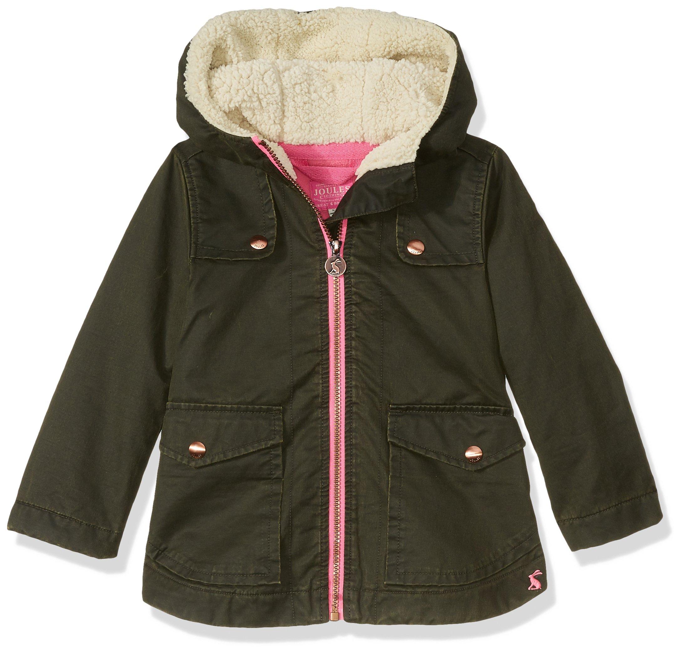 Joules Little Girls' Clover Parka Coat, Everglade, 5