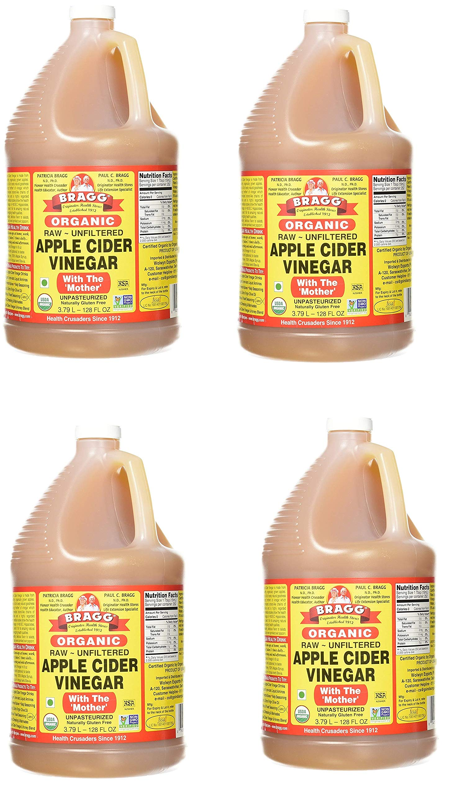 Organic Apple Cider Vinegar, Raw, Unfiltered, with The Mother, 128 Ounce by Bragg