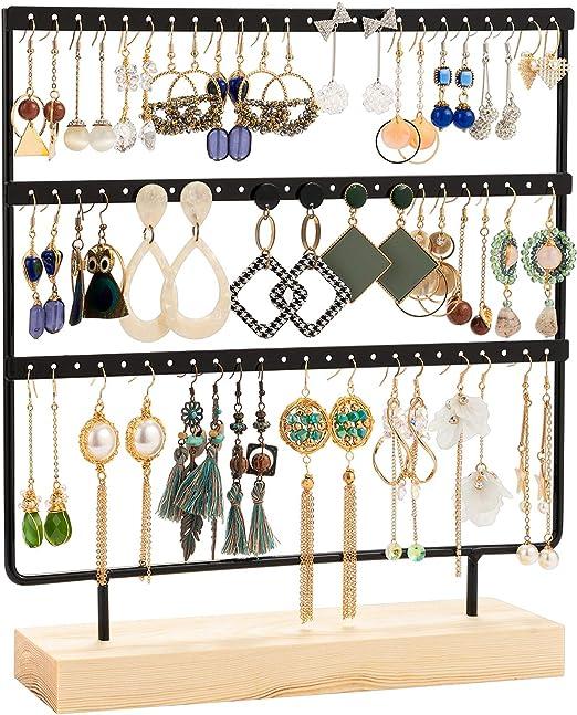 Amazon Com Dhmk Earring Stand Display Rack 3 Tier Earring Holder Jewelry Organizer Ear Stud Earring Stand 69 Holes With Wood Base Stand Display Rack For Women Girls Gift Ear Stud Holders Black Home