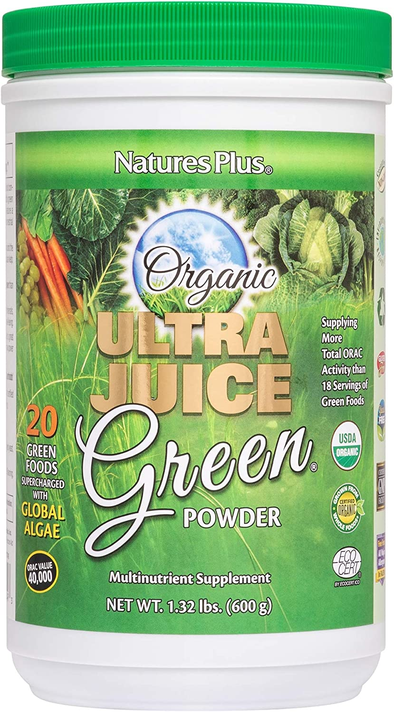 NaturesPlus Ultra Juice Green Powder - 1.32 lbs, Green Drink - Multinutrient Supplement, 20 Whole Green Foods & Global Algae- Non-GMO, Organic, Gluten-Free - 60 Servings