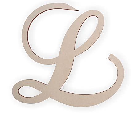 Jess And Jessica Cursive Wooden Letter L, For Front Door, For Above Crib,
