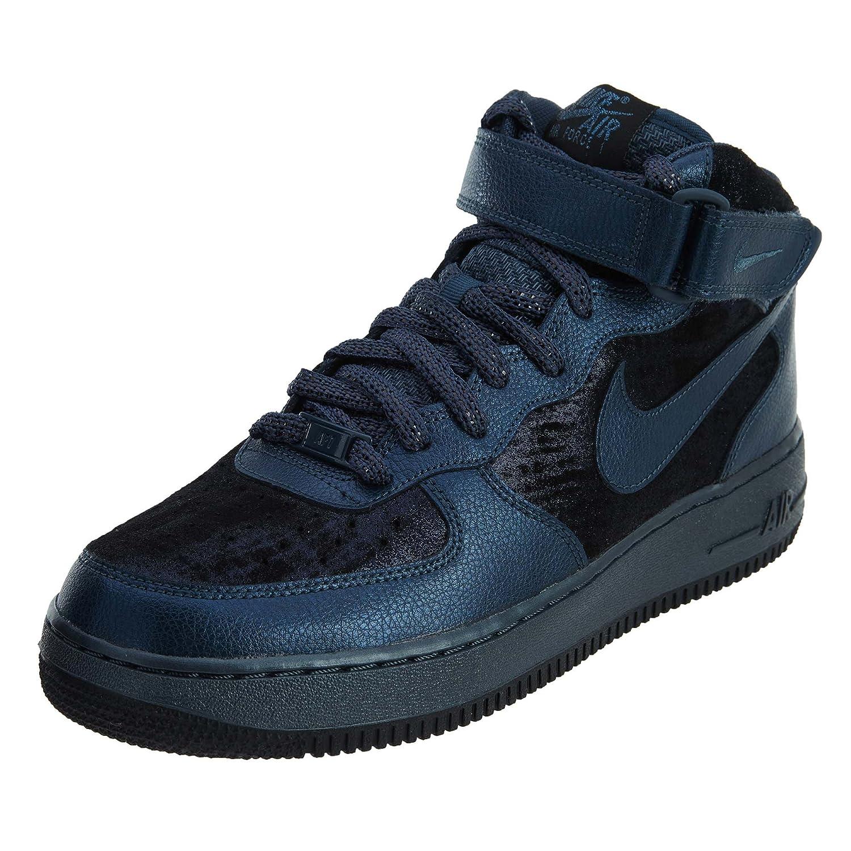Nike W Air Force 1 '07 Mid PRM, Hauszapatos de Deporte para muñer Metallic Armory Navy Metallic Armory Navy