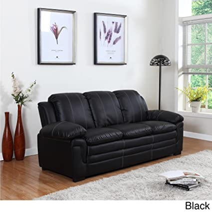 Madison Home Divano Roma Classic Bonded Leather Sofa And Loveseat Living  Room Furniture, Color Black