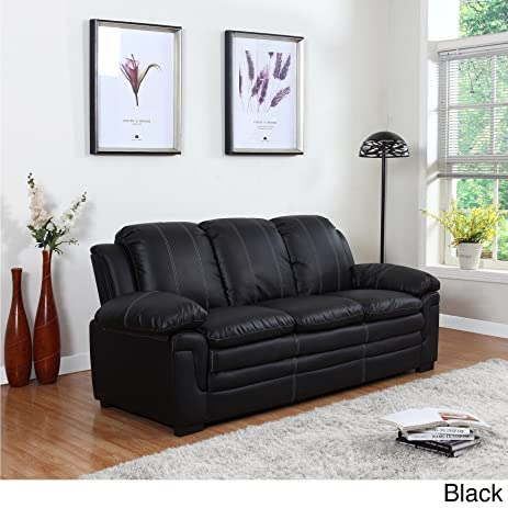 Amazon.Com: Divano Roma Classic Bonded Leather Sofa And Loveseat