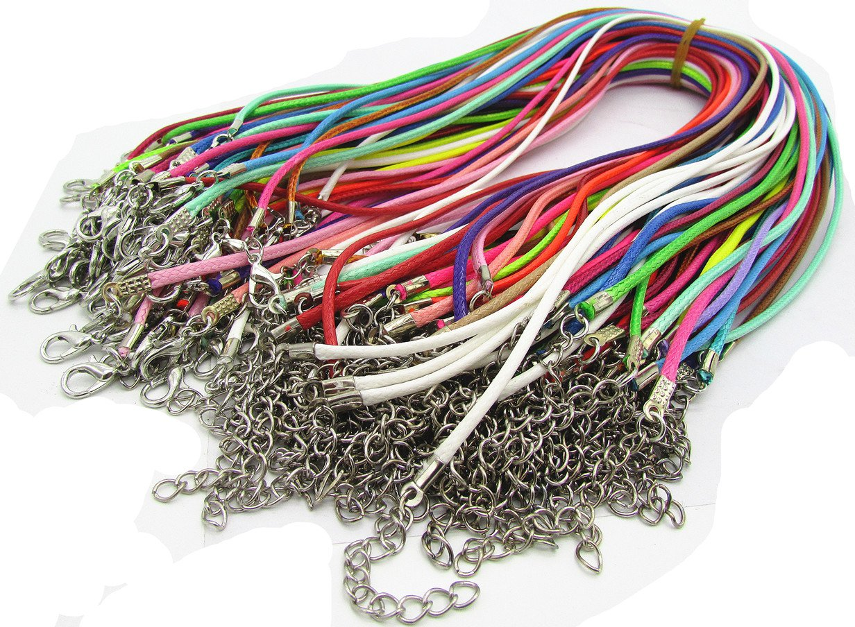 Assorted Color 50pcs Braided Imitation Leather Necklace Cord with Lobster Clasp 18'' fashion 4336826342