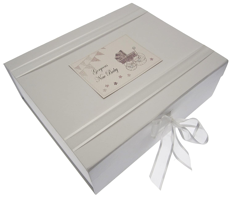 New Baby, Large Keepsake Box, Silver Pram & Bunting White Cotton Cards BPS2X