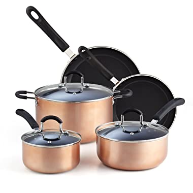 Cook N Home 02581 8-Piece Nonstick Heavy Gauge, Copper/Brown Cookware Set
