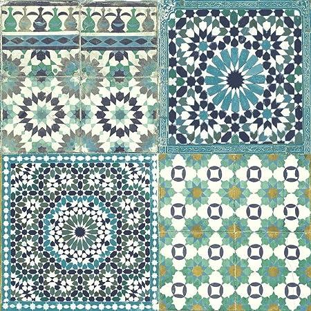 Papier peint carrelage marocain botanique méditerranéen ...