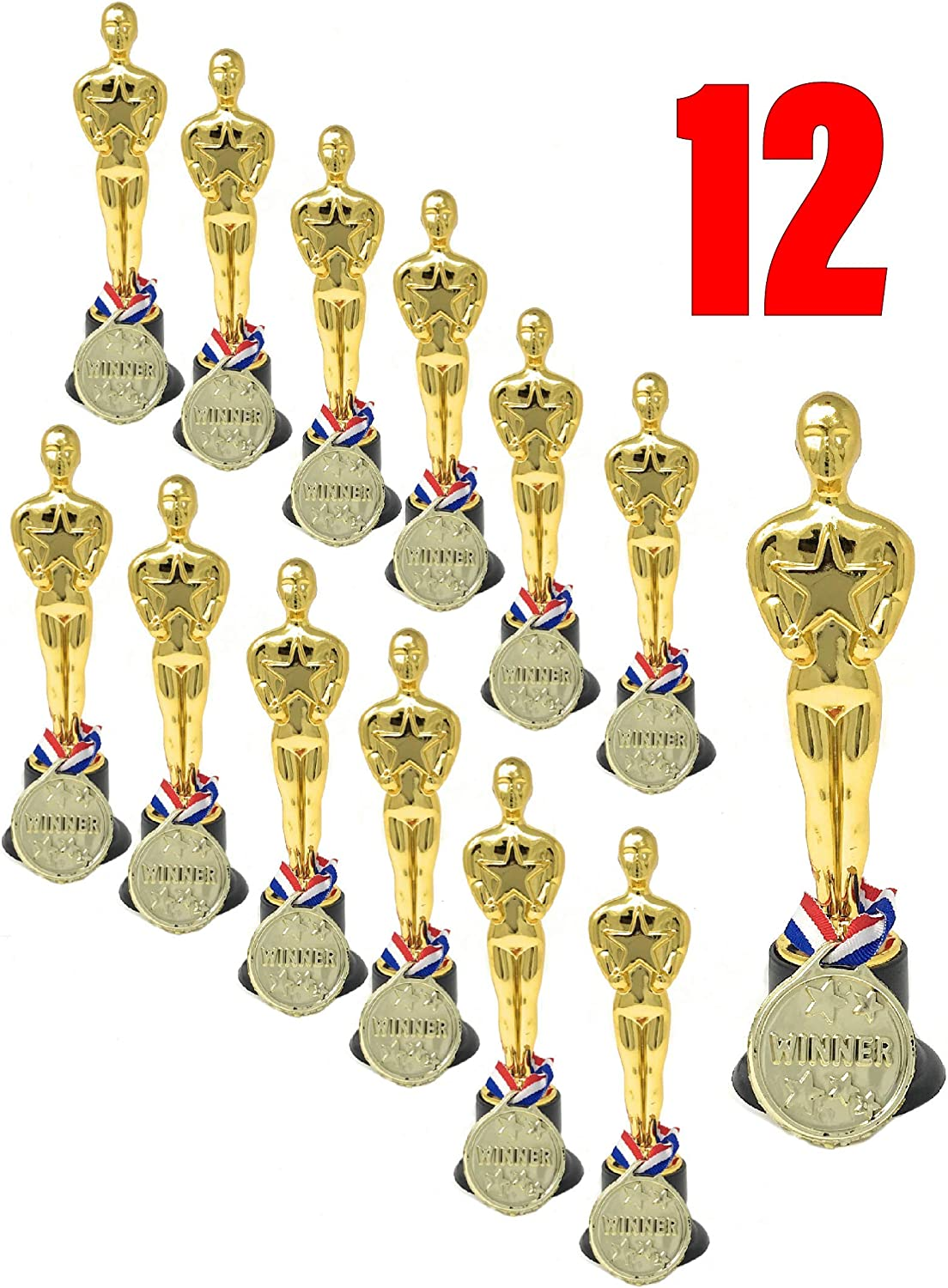 Amazing Set of Trophy Statue and Medal Award  Bulk Pack of 12   Shiny Golden Oscar Trophies & Medal Awards for Kids & Adults   Ideal As Party Favors, Reward Prizes   Sports Events  Goody Bag Stuffers   Ceremonies Award