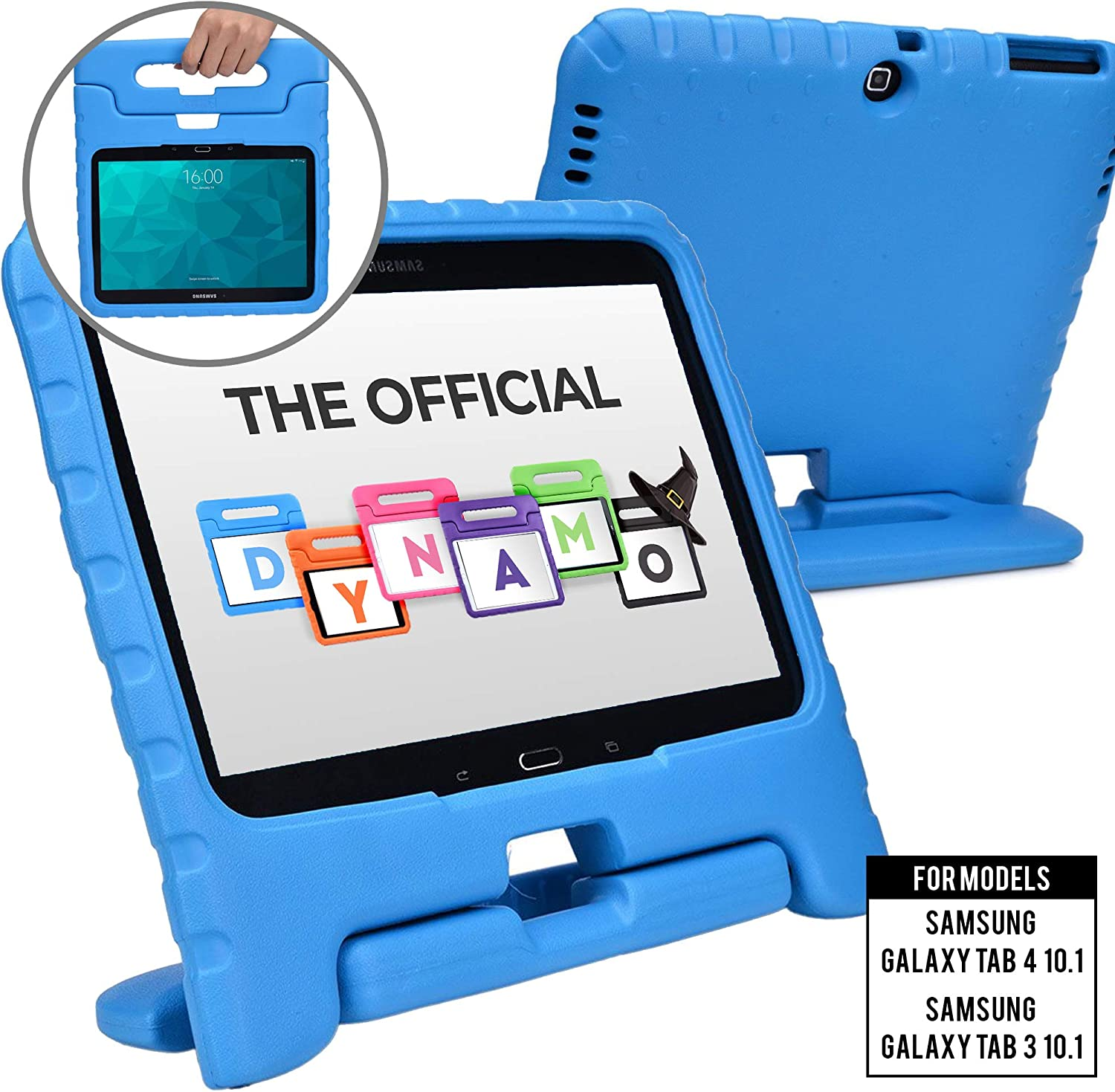 Cooper Dynamo [Rugged Kids Case] Protective Case for Samsung Tab 4 10.1, Tab 3 10.1 | Child Proof Cover with Stand, Handle | SM-T530 T531 T535 (Blue)