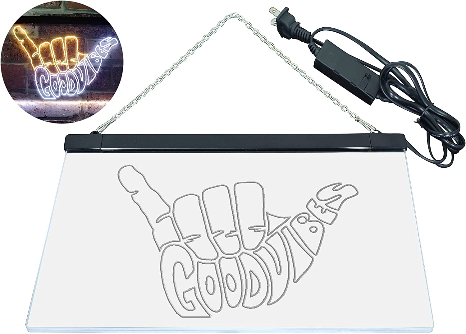 ADV PRO Good Vibes Only Hand Party Decoration Dual Color LED Barlicht Neonlicht Lichtwerbung Neon Sign Blau /& Gelb 300 x 210mm st6s32-i1076-by