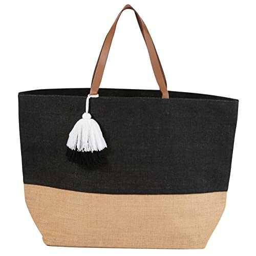 a4a85c334d96 Amazon.com  Mud Pie 8613351BK Color Block Jute Tote Bag Black  Arts ...