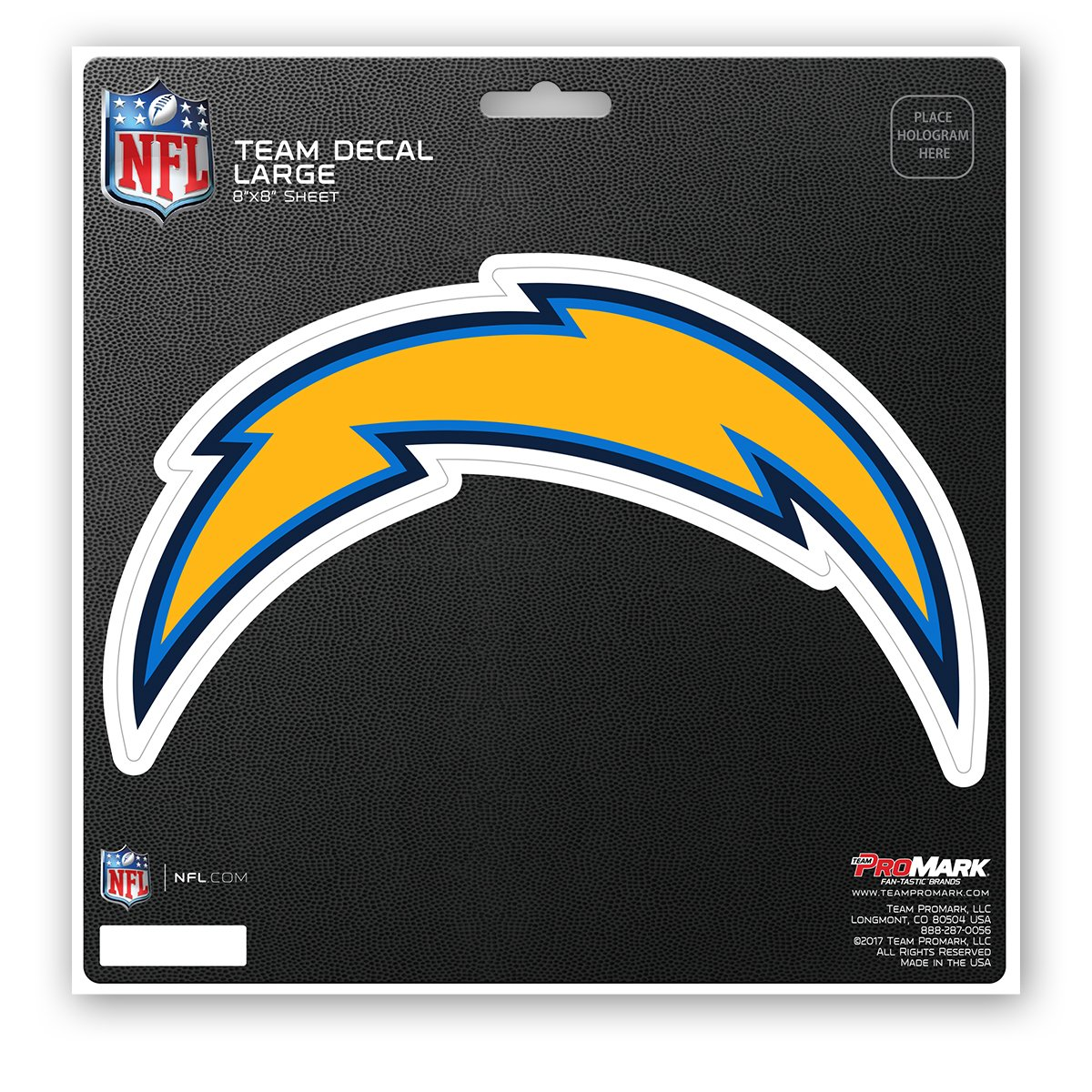 Team Color ProMark NFL Los Angeles Chargers Unisex Los Angeles Chargers Decal Die Cutlos Angeles Chargers Decal Die Cut 8x8