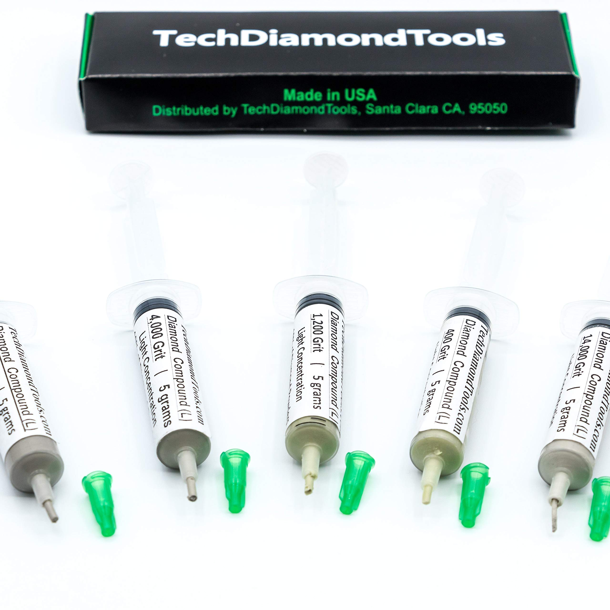 TechDiamondTools Diamond Lapidary Paste Set of 5 Syringes X 5 Grams (L), Polishing Lapping Compound, Sizes 400 1200 4000 14000 50000 Grit, Mesh - With Light(10%) Concentration of Diamond Powders