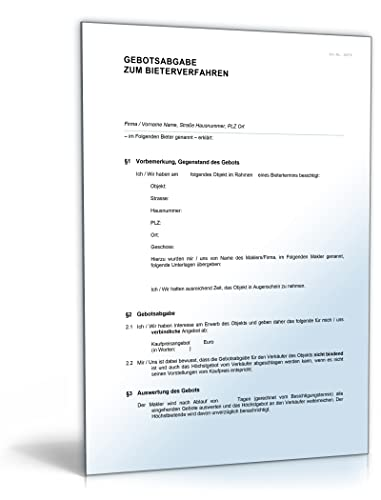Bieterverfahren Gebotsabgabe Immobilie Word Dokument Download
