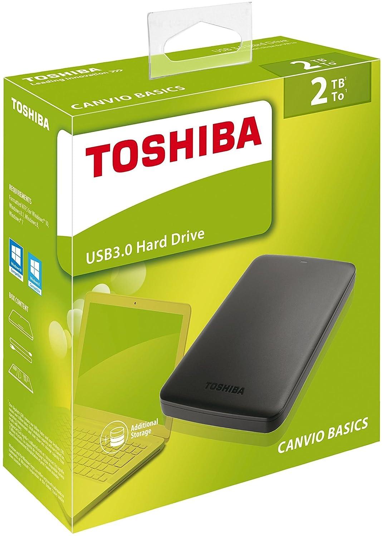 color negro Toshiba Canvio Basics 2 TB Disco duro externo port/átil USB 3.0 de 2.5 pulgadas