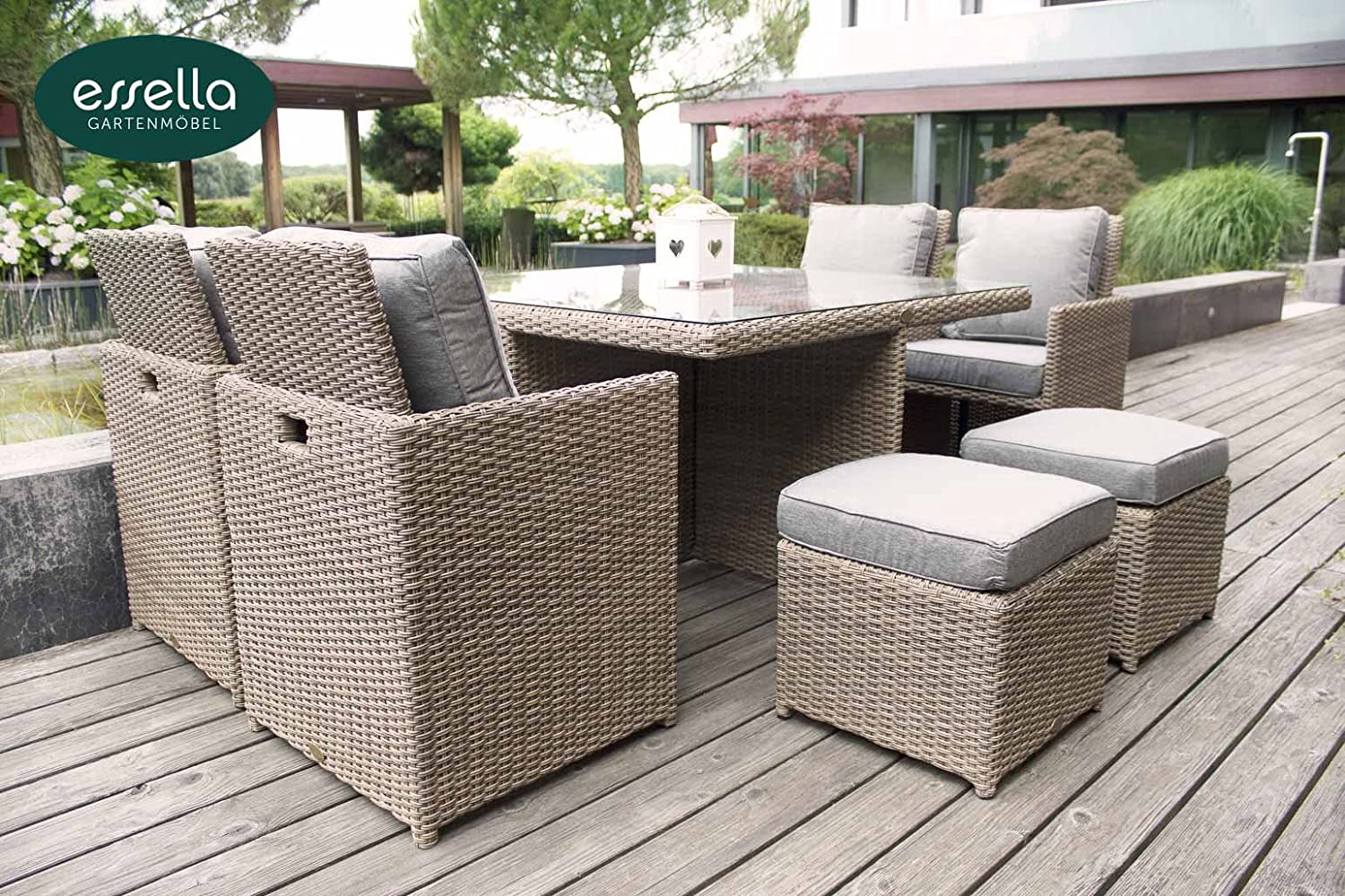 polyrattan sitzgruppe vienna 4 personen rundgeflecht hellbraun gartenm bel terassenm bel. Black Bedroom Furniture Sets. Home Design Ideas