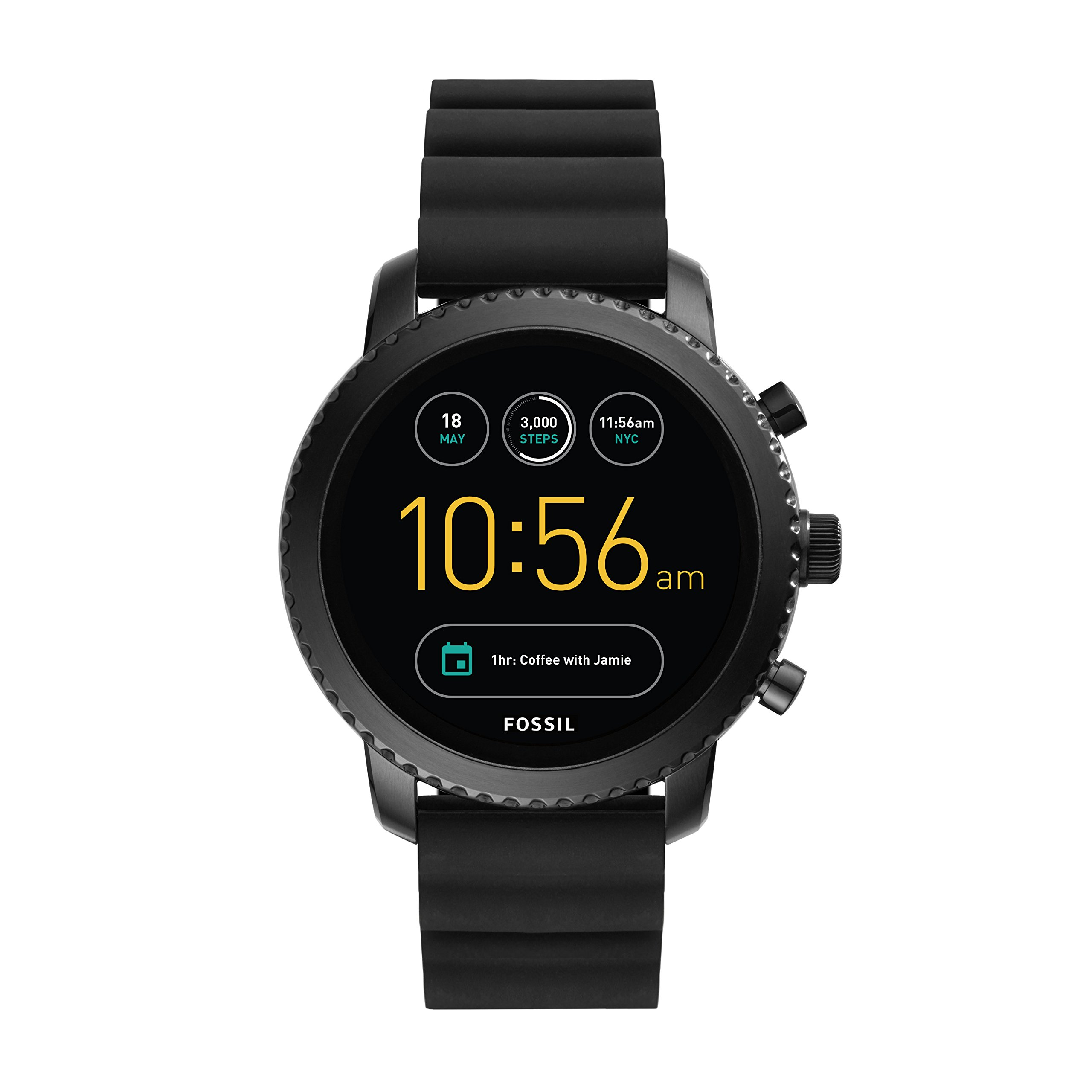 Fossil Q Men's Gen 3 Explorist Stainless Steel and Silicone Smartwatch, Color: Black (Model: FTW4005) by Fossil