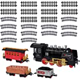 Christmas Electric Toy Train Set - Classic Locomotive Model Train Sets For Under The Tree For All Children Adults Family - Set With Light And Realistic Sounds - 22' Track - Holiday Christmas Tree Gift