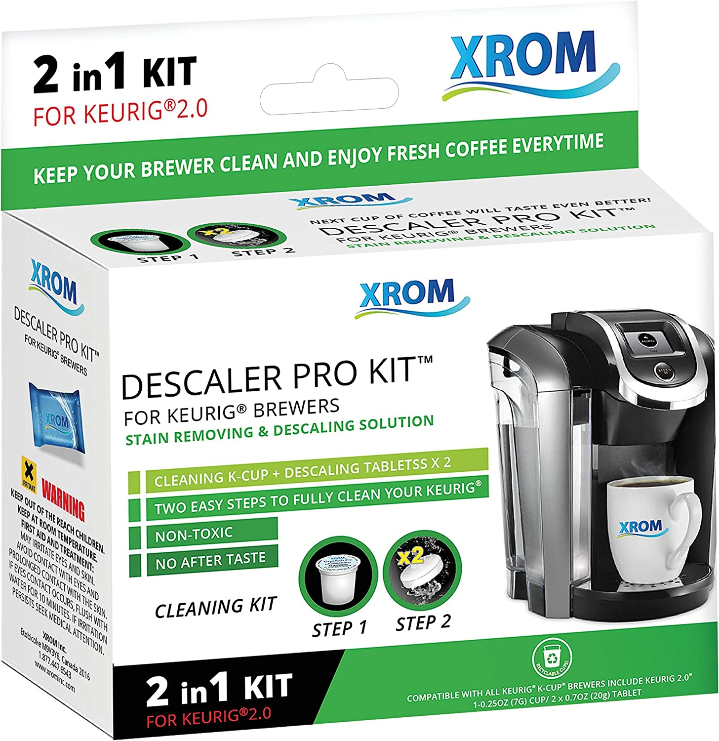 XROM Professional Descaling Kit Compatible With All K-Cup Keurig 2.0 Brewers, Biodegradable, All Natural Ingredients, Full Cycle Cleaning And Descaler Solution For Keurig Coffee Makers 81AmnziRLWL