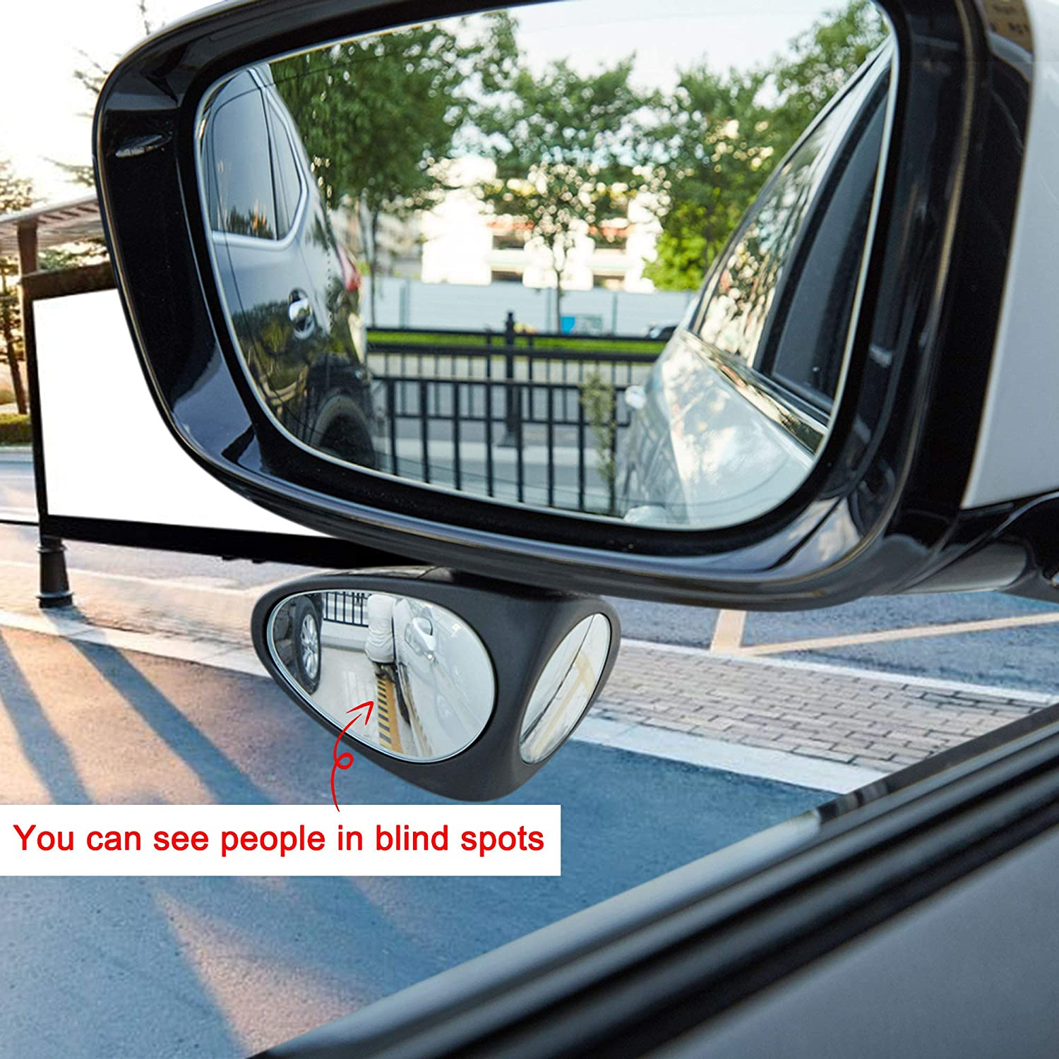TOMALL 2 in 1 Car Blind Spot Mirror 360 Rotation Adjustable HD Glass Wide Angle Convex Rear View Mirror Blind Spot for Front//Rear wheels Observation Self Adhesive Universal Accessories Right