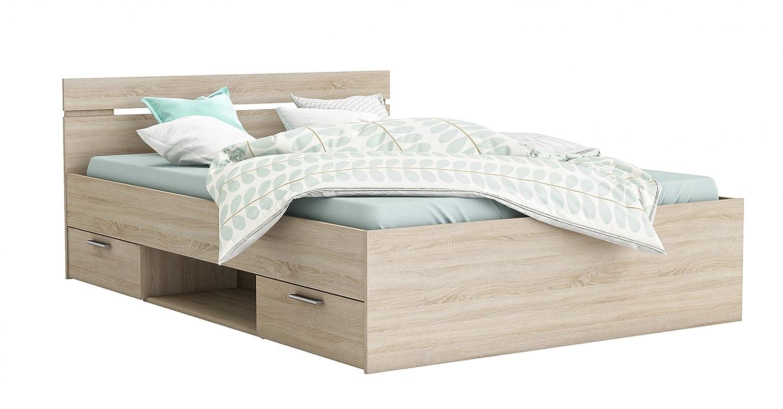 Funktionsbett 140200 cm grau grau grau sonoma eiche inkl. 2 Bettschubkästen Kinderbett Jugendbett Jugendliege Bettliege Bett Kinderzimmer 94fc69