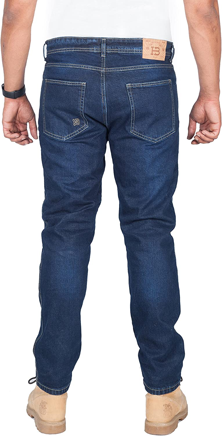 5002. Huxlay Bros HB K2 Aramid Lined Straight Fit Whisker Wash Motorcycle Jeans