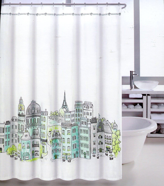 Amazon Tahari Paris in Color Fabric Shower Curtain Blue