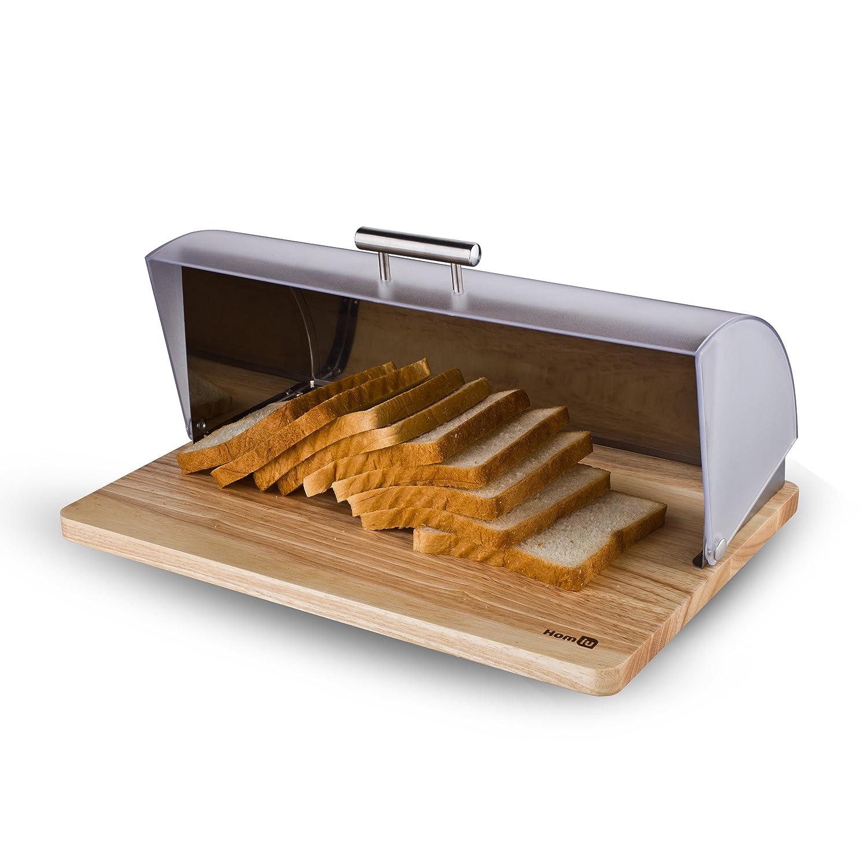 Homiu roll top Bread Bin–argento