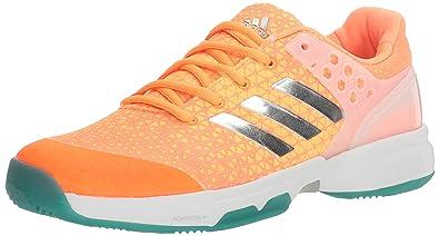 542f075ac adidas Women s Adizero Ubersonic 2W Tennis Shoes Glow Orange Metallic  Silver Samba Blue (