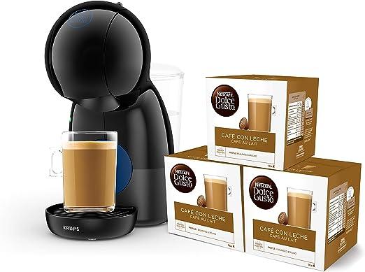 Pack Krups Dolce Gusto Piccolo XS KP1A08SC - Cafetera de cápsulas, 15 bares de presión, color negro + 3 packs de café Dolce Gusto Con Leche: Amazon.es: Hogar