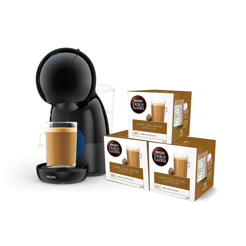 Pack Krups Dolce Gusto Piccolo XS KP1A08SC - Cafetera de cápsulas, 15 bares de presión, color negro + 3 packs de café Dolce Gusto Con Leche