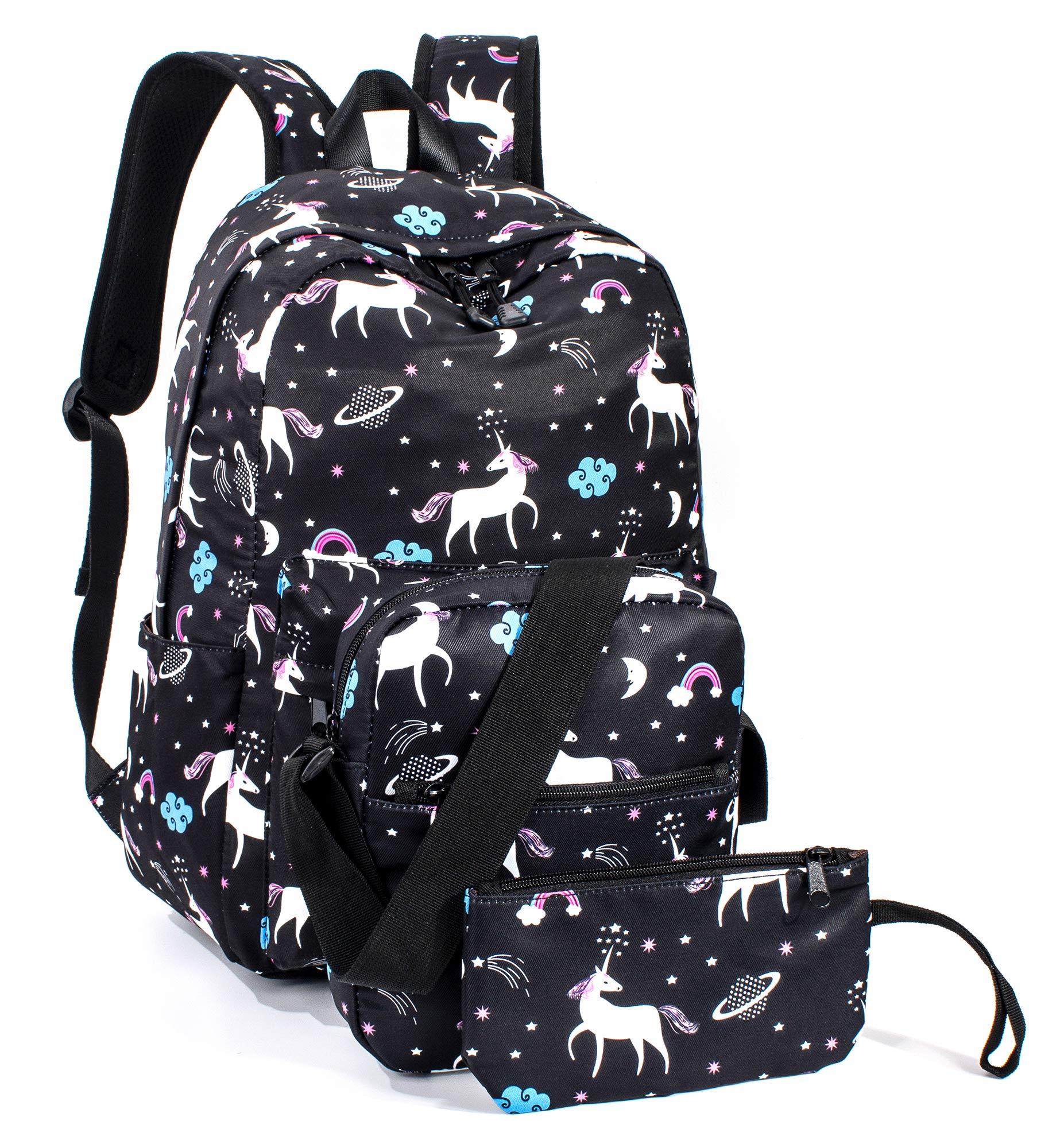 Leaper Unicorn Backpack for Girls Laptop Backpack School Bag Travel Daypack Bookbag Shoulder Bag Pencil Case Black