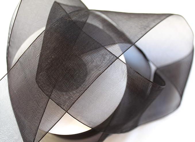 CaPiSo/® Organza Ruban en Organza 50 mm x 5 cm 22m Noir