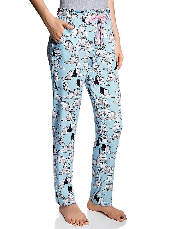 oodji Ultra Mujer Pantalones de Casa con Estampado: Amazon.es: Ropa y accesorios