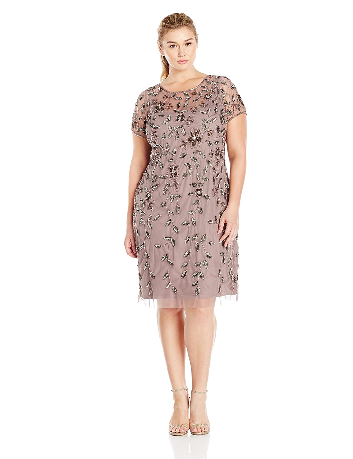 ea0a6ae5 Amazon.com: Adrianna Papell Women's Plus-Size Short Sleeve Beaded Cocktail  Dress: Clothing