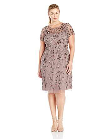 0bc7a91b56a Amazon.com  Adrianna Papell Women s Plus-Size Short Sleeve Beaded Cocktail  Dress  Clothing