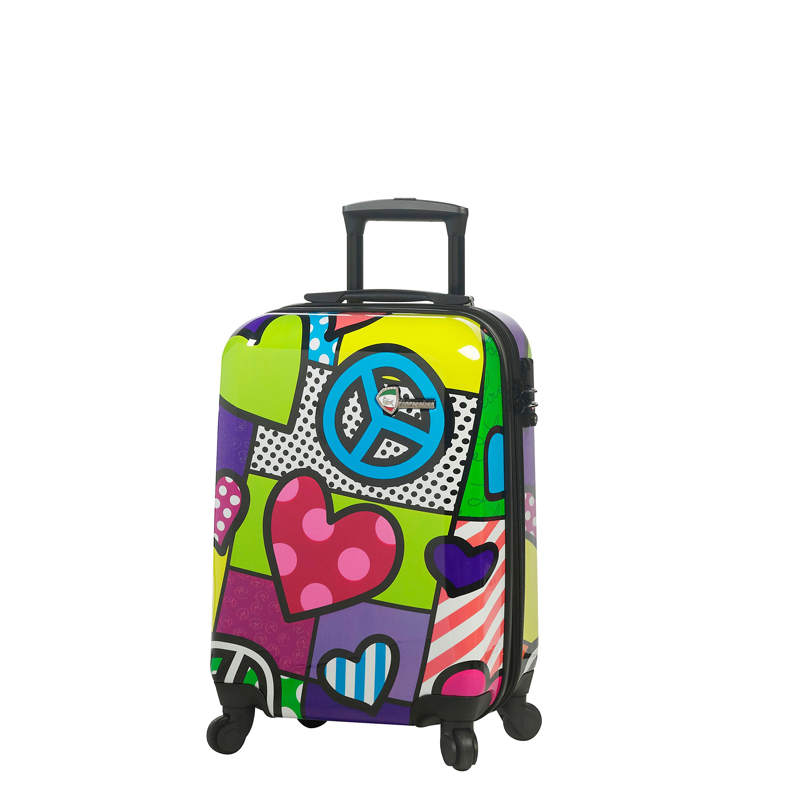 Mia Toro Peace and Love Hardside Spinner Carry-on, Contemporary