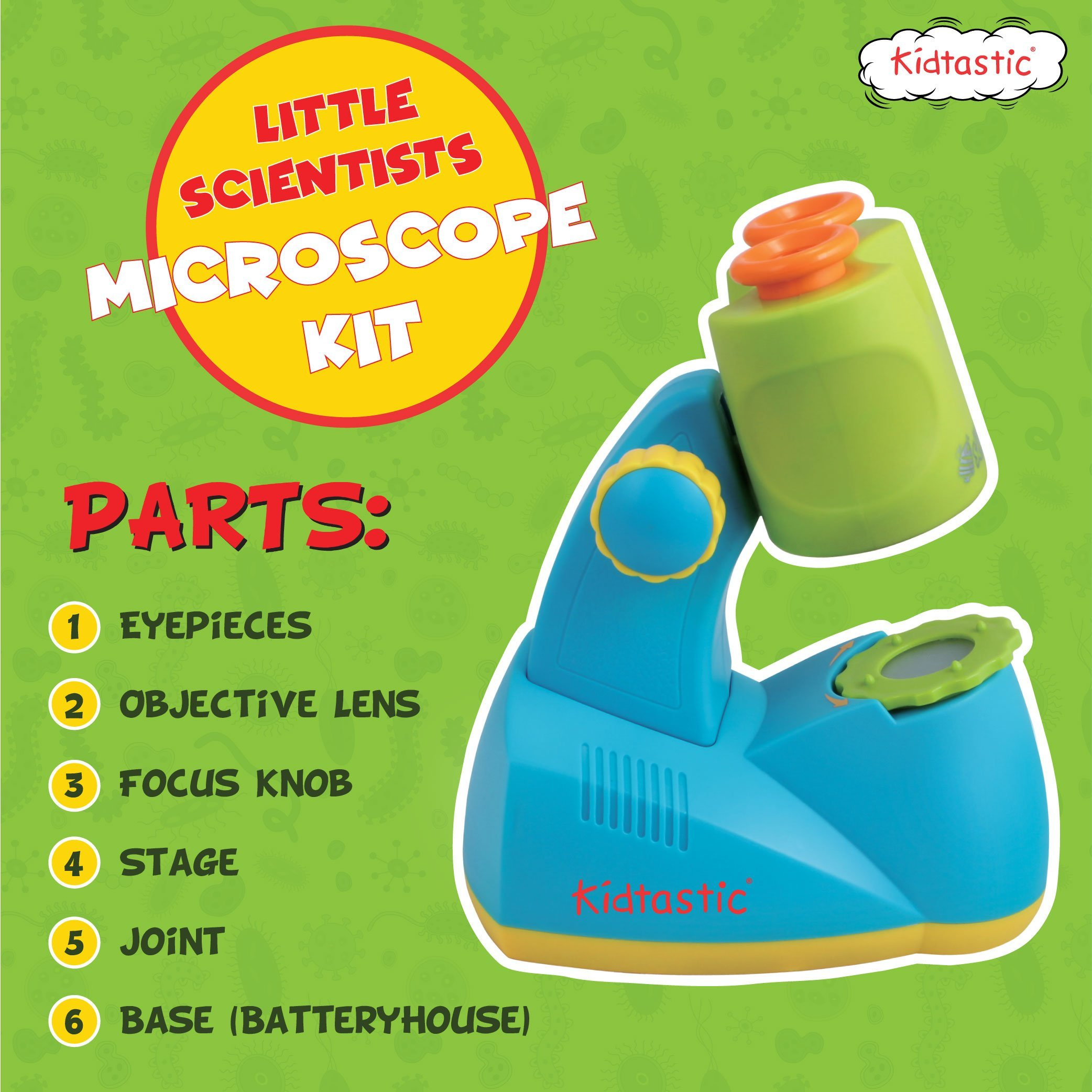 Kidtastic Microscope Science Kit for Kids - Fun Learning Toys for Preschoolers - STEM Toy for 3 Year olds - with 12 Slides Animals & Nature, 8X Zoom, LED Light - for Ages 3, 4, 5, 6 and up by Kidtastic (Image #6)