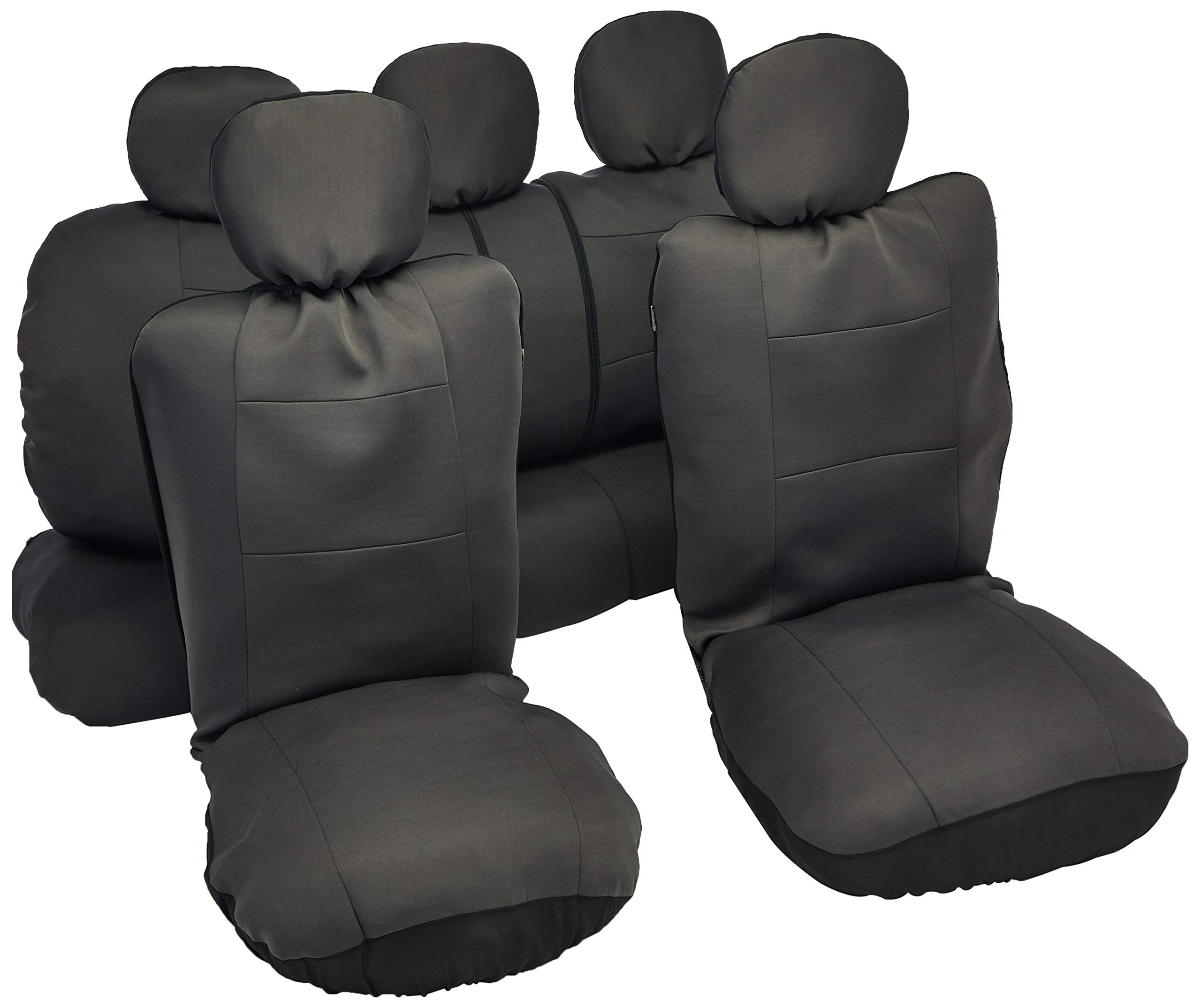BDK Charcoal Black Car Seat Covers Full 9pc Set - Sleek & Stylish - Split Option Bench 5 Headrests Front & Rear Bench - OS-309-AC by BDK