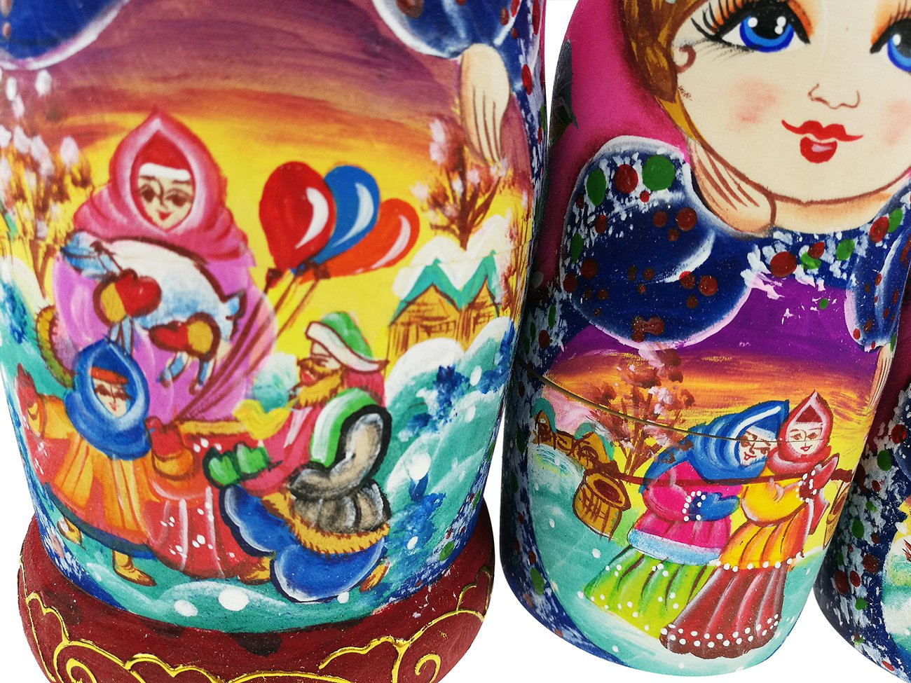 Beautiful Color Cute Little Girl Fairy Tale Handmade Wooden Russian Nesting Dolls Matryoshka Dolls Set 7 Pieces for Kid Toy Birthday Home Decoration by Winterworm (Image #7)