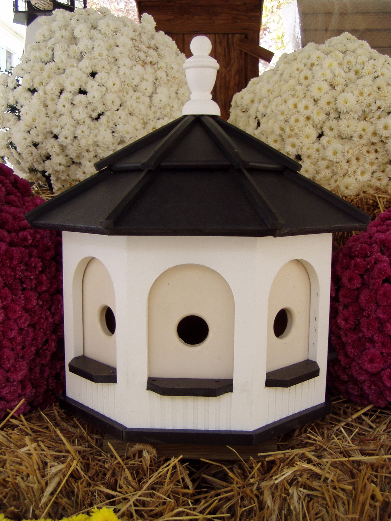 Amish homemade handcrafted Handmade Poly Gazebo Birdhouse yard White & Black Large