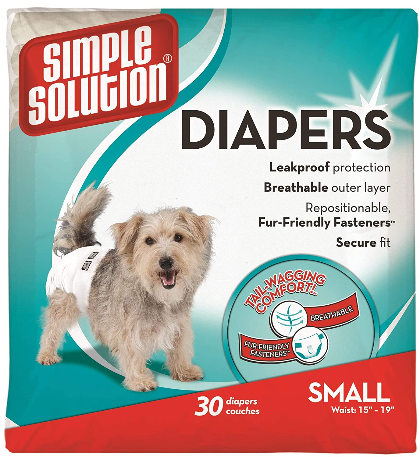 Simple Solution Disposable Dog Diapers for Female Dogs | Super Absorbent Leak-Proof Fit