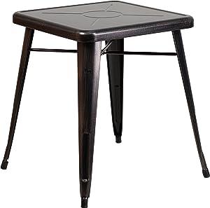 "Flash Furniture Commercial Grade 23.75"" Square Black-Antique Gold Metal Indoor-Outdoor Table"