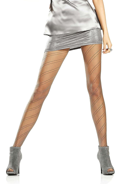 Marilyn strisce di gemusterte semitrasparenti collant con Comfort della fascia in vita e cotone gherone 20/denari