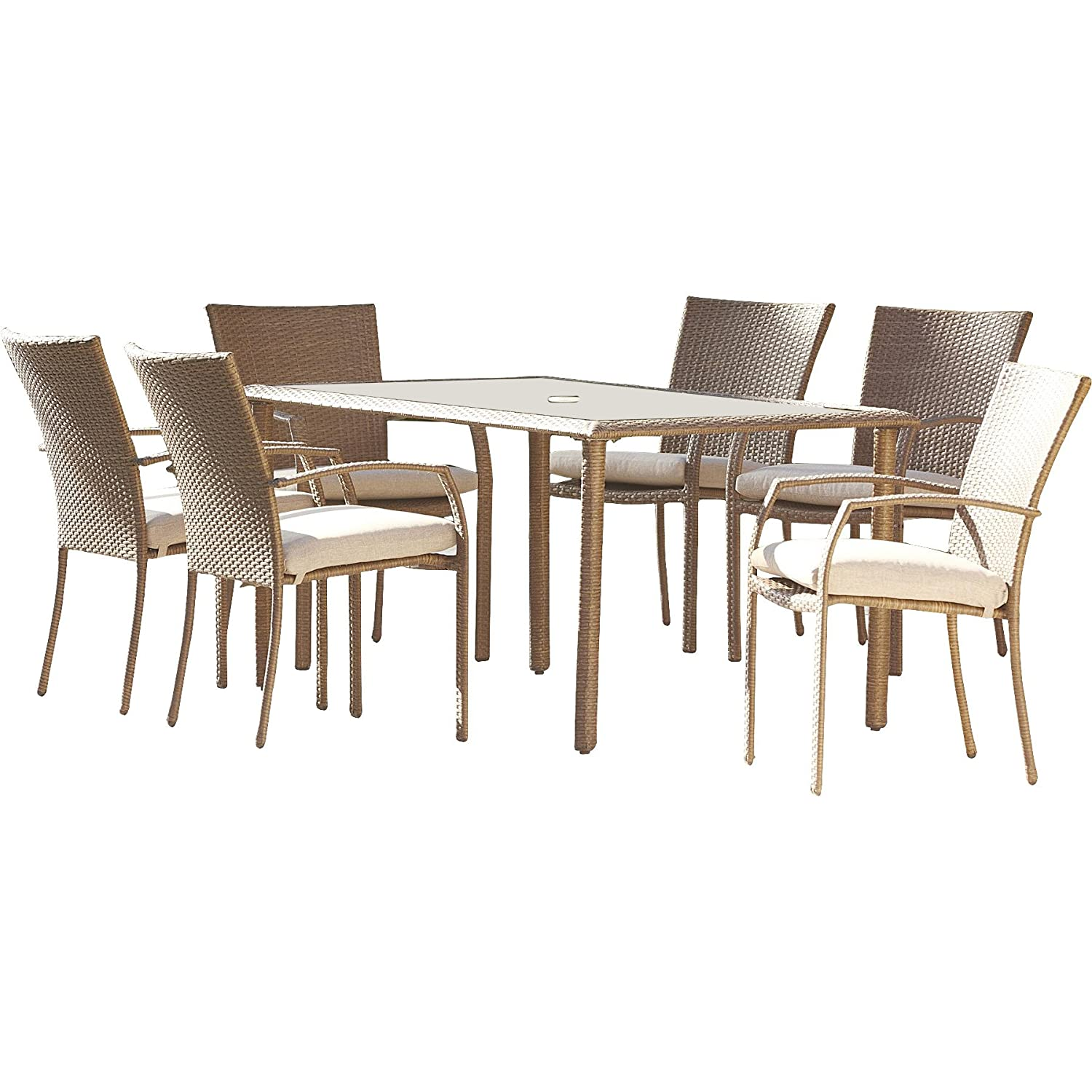 Amazon Marathon 7 Piece Dining Set with Cushion by Three