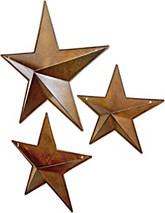 Hanging Metal Star Wall PLANTERS - Set of 3 Combo Rusty barn Pocket Stars Great for Indoor Outdoor Planter pots for Succulent Faux Flowers or herb Garden Buckets. Rustic Country Farmhouse Decor.