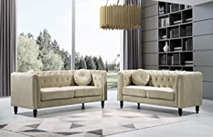 US Pride Furniture Whetzel Chesterfield Sofa and Loveseat Set Sectional, Cream